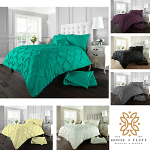 Pintuck-Pleated-Alford-Duvet-Cover-Set-Bedding-With-Pillowcase-All-Sizes-Colours