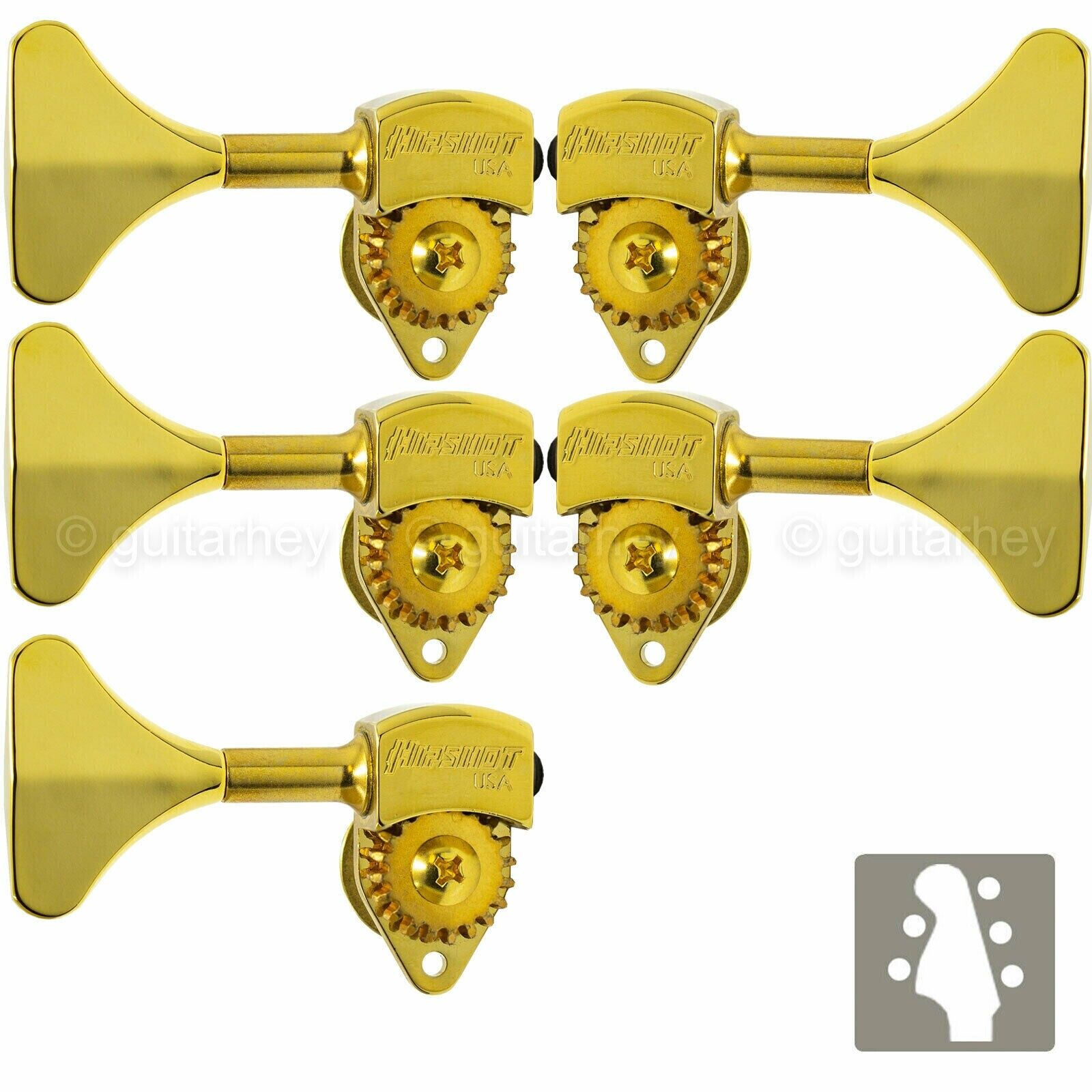 NEW Hipshot USA HB6 3 8  Ultralite® Bass Tuning L2+R3 Set Y Key 2x3 - Gold