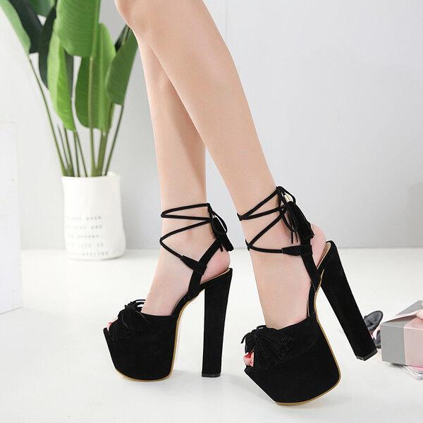Sandals heel square 16 cm elegant black plateau strap like leather 9750