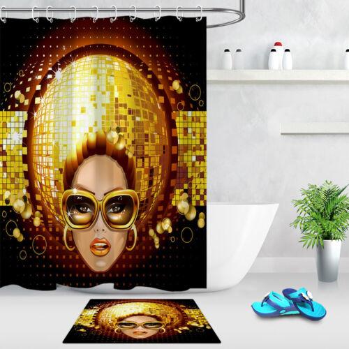 Waterproof Fabric Shower Curtain Liner Bathroom Hooks American Girl Disco Music