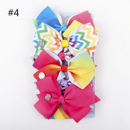 "6 Pcs//Set 5.5/"" Rainbow Printed Knot Ribbon Bow Hair Chip For Kids Girls Bowknot"