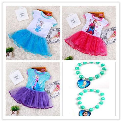 Frozen Elsa Anna Costume Disney Princess Girls Kid Fancy Outfit Dress Skirt 2-8Y