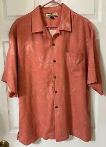 Tommy-Bahama-Men-039-s-Hawaiian-Shirt-Pink-Floral-Short-Sleeve-100-Silk-Size-L
