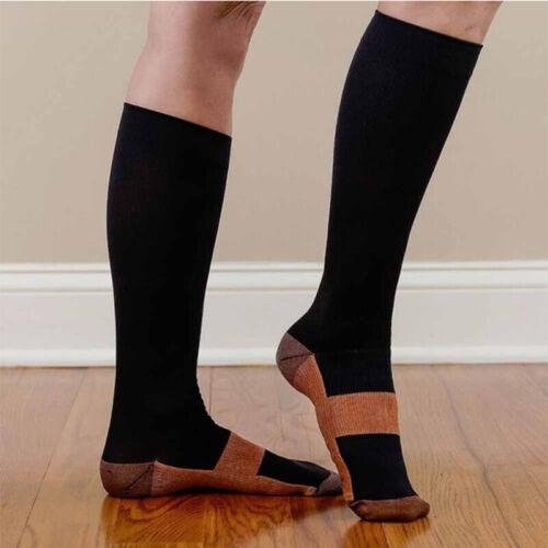Pair Copper Infused Anti-Fatigue Compression Socks Varicose Vein Stocking BQ