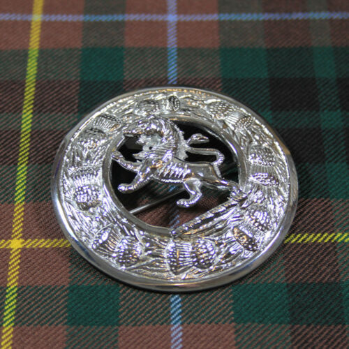 Nuevo diseño de cardo escocés Cape Pin Broche A Cuadros-centro de León-Cromo