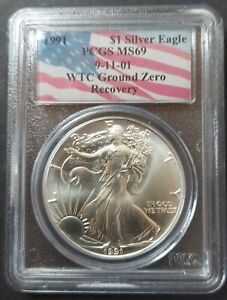 1991 Silver Eagle WTC Ground Zero Recovery PCGS MS69