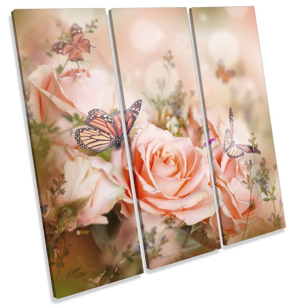 Joyeux Noël Surprise + Pink Rose Floral Flowers Picture Treble Print Canvas Wall Art Print Treble 3d13f7