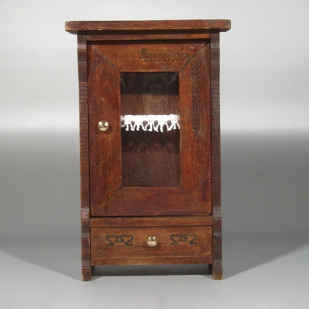 Antique / Vintage French Wooden Doll Furniture Cabinet,  Faux  Drawer