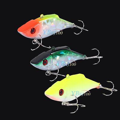 VIB Fishing Lures Vibration Bass Crankbait Crank Baits Tackle Hooks 7.5cm 12.5g