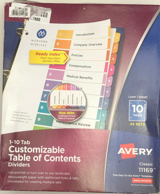 AVE11169 Avery Customizable TOC Ready Index Multicolor Dividers