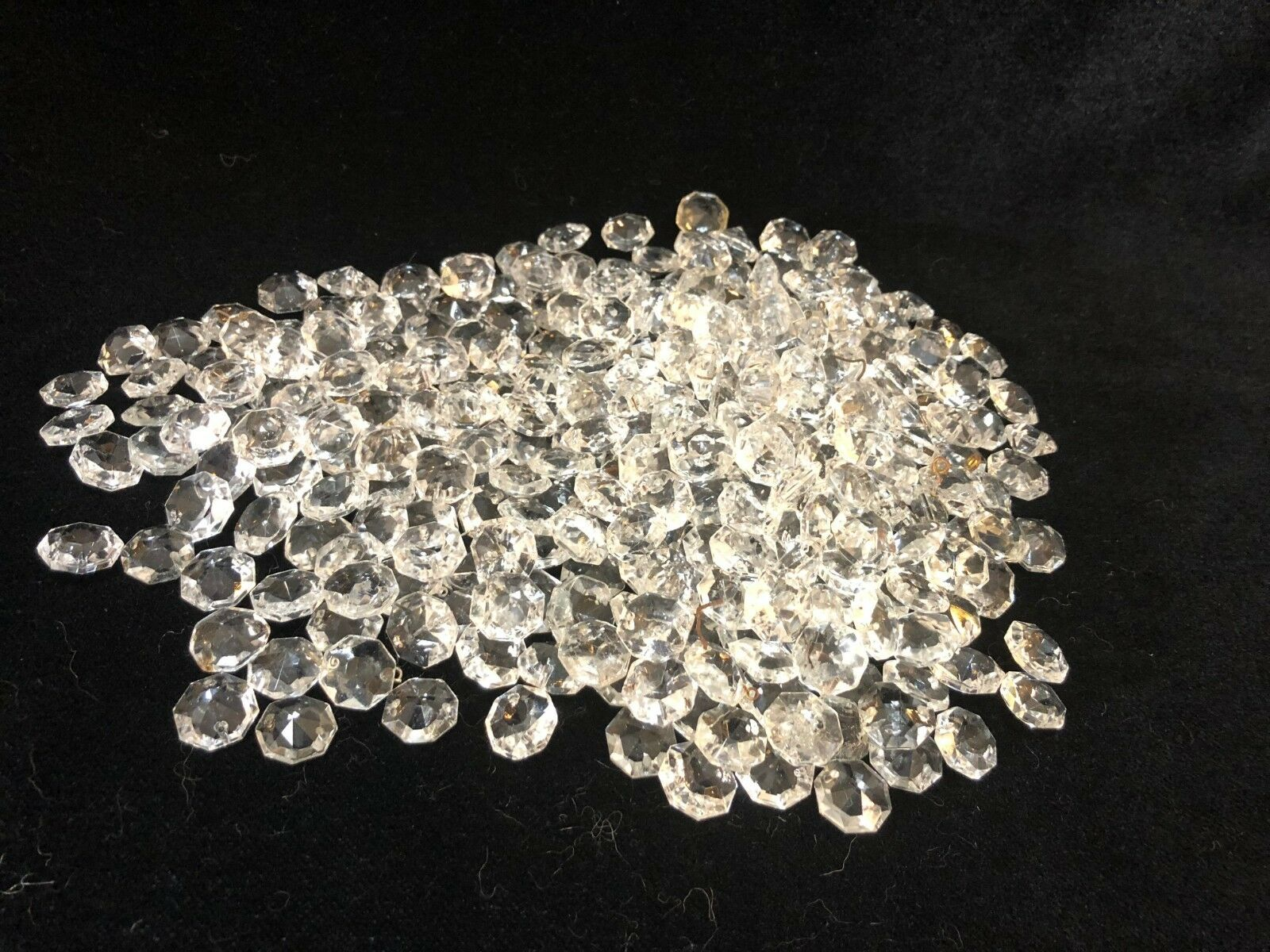 302 ea Murano Crystal Clear Glass Beads Prism Chandelier Parts, 5 8  Diameter