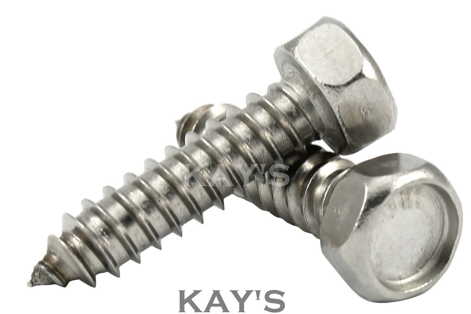 HEXAGON HEAD SELF TAPPING SCREWS, A2 STAINLESS STEEL TAPPERS No.6,8,10,12,14