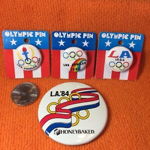 Vintage-1984-Set-Of-Four-Olympic-Pins-Los-Angeles-Olympics-80s