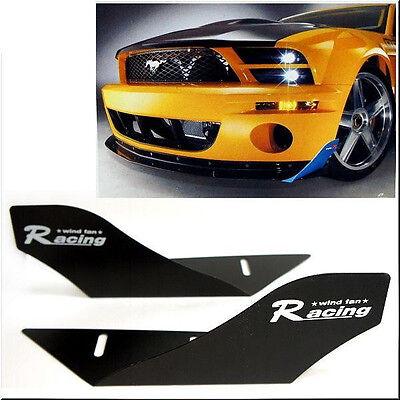 CAR RACING WIND FAN ALUMINUM BUMPER SPLITTER SPOILER WING X 2 PIECES BLACK