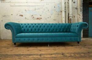 Chesterfield-Grand-Tissu-Design-Salon-Canape-Rembourrage-4-Siege-Cuir-113
