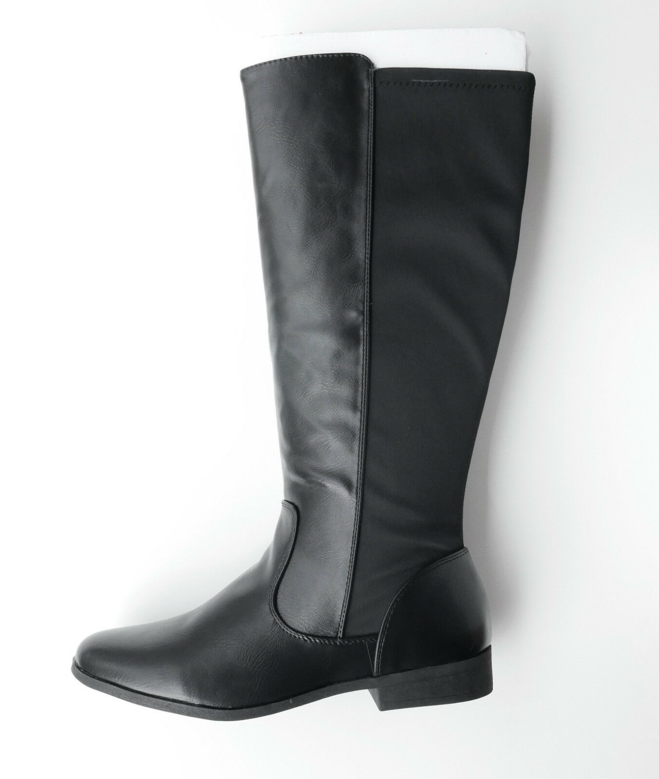 WOMANS COMBINATION FABRIC AND LEATHER BLACK BOOTS BY TEX SIZE 7