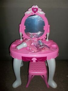 Girls Vanity Makeup Table Mirror Chair Set Pretend Toy Play Hair