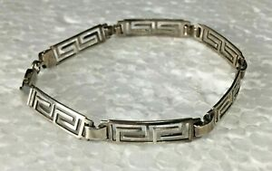 Vtg-Solid-Sterling-Silver-Greek-Key-Panel-Link-7-25-in-034-Bracelet-925-curved