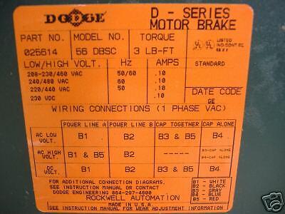 DODGE DBSC-3  D-SERIES MOTOR BRAKE  NIB