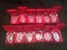 SET OF WATERFORD 12 DAYS OF CHRISTMAS ORNAMENTS  1979-1990 INCLUDING RARE 1982