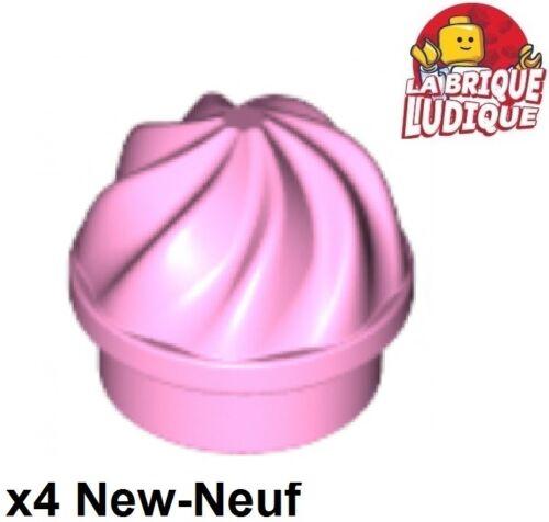 4x Plate Round 1x1 gateau cake cupcake Swirled Top rose//b Lego pink 15470 NEW