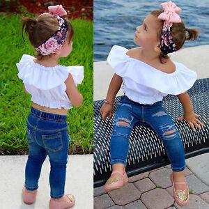68084de8903 Toddler Kids Baby Girl Off Shoulder Shirt Tops+ Jeans Pants 2PCS ...