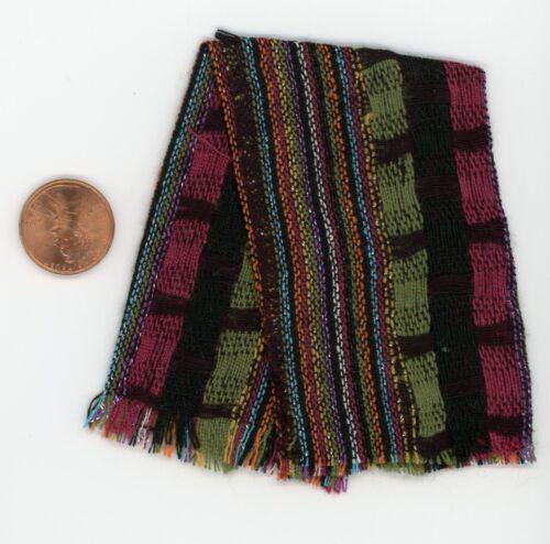 Maroon Black Green w// Metallic Threads Miniature Dollhouse Rayon Throw Shawl