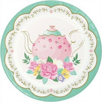 Floral Tea Party Scalloped 7 Inch Plates Assorted Designs 8 Pack Birthday Party