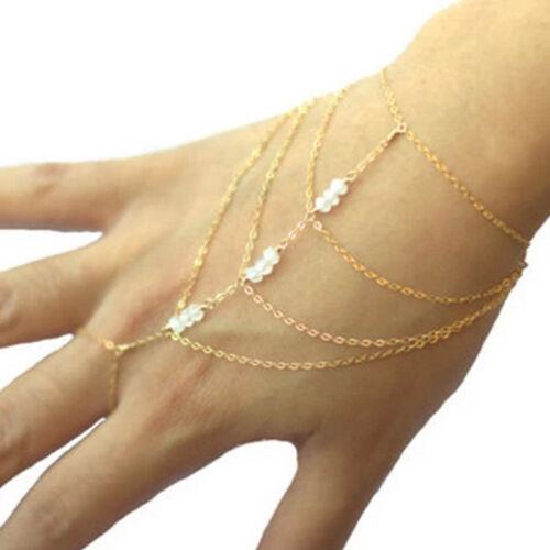 Multi Chain Tassel Bracelet Finger Ring Hand Harness Gold Slave Bracelet