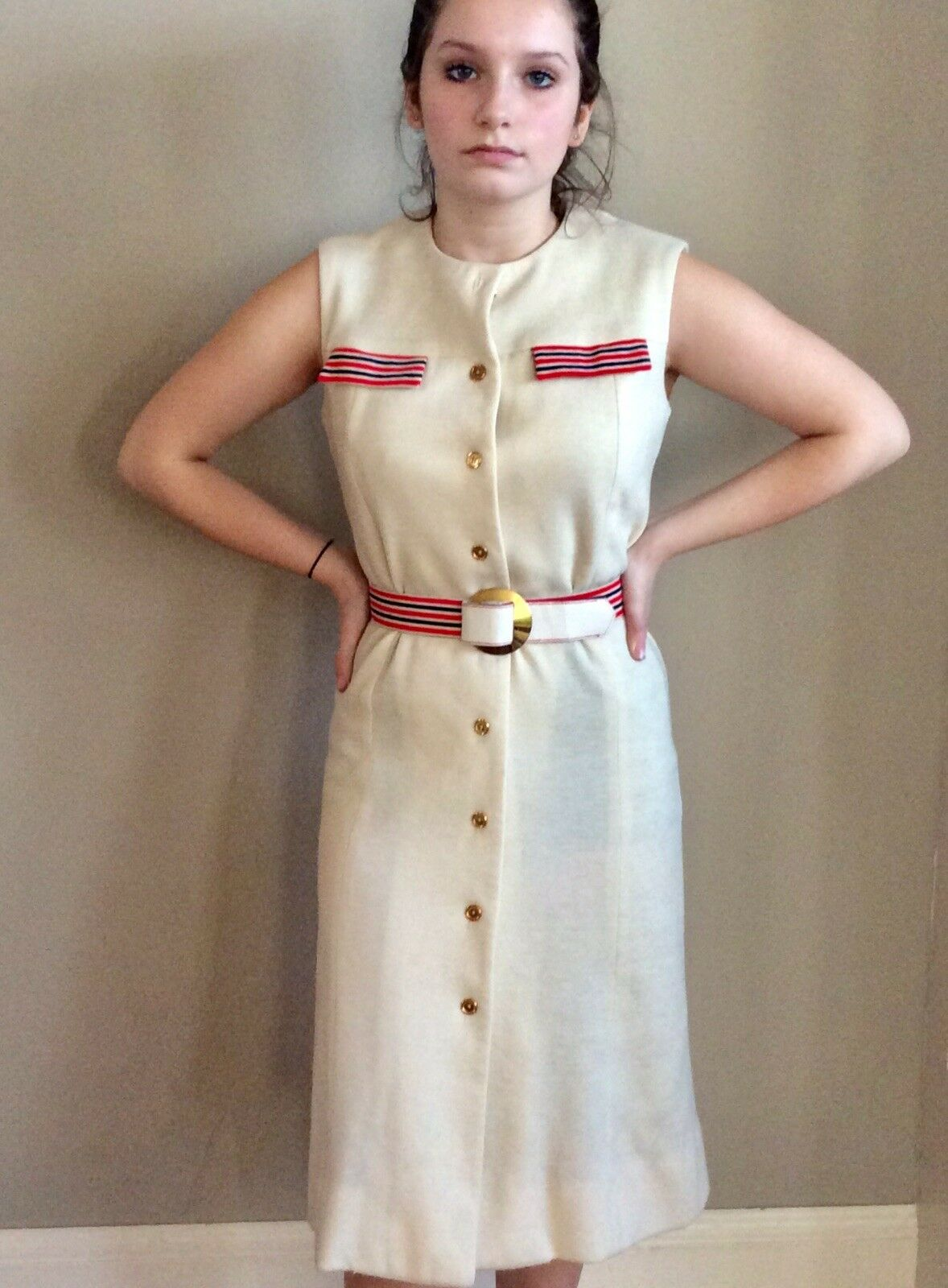 Vintage Sacony Exclusive Button Front Belted Shif… - image 2