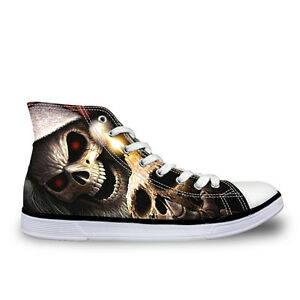 Skull-Head-Womens-High-Top-Flat-Shoes-Sneakers-Casual-Walking-Canvas-Sport-Shoes