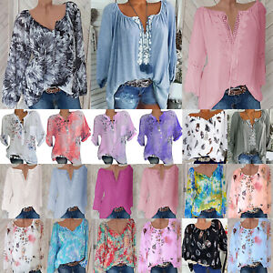 7b8a0bfab003 Womens Tie Dye Long Sleeve Tops Casual Loose Blouse Summer Lace Up ...