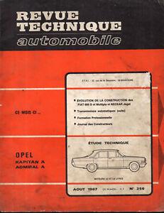Opel Kapitan A Admiral A - Revue Technique Automobile Rta 256