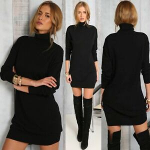 Mini-Sexy-Women-Black-Turtleneck-Knitted-Dress-Long-Sleeve-Tunic-Sweater-Dress