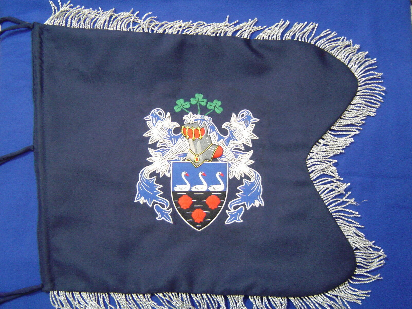 Coat of Arms / Family Crest Bagpipe Banner | Hand EmbroideROT by Geoffrey