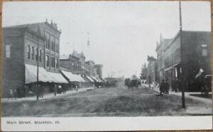 Stockton-IL-1909-Postcard-Main-Street-Downtown-Illinois-Ill