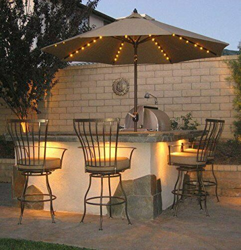 104 Led Solar Battey Powered Umbrella, String Lights Outdoor Patio