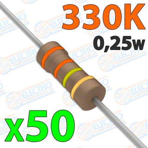 Lote 50 unidades Resistencia 330K ohm 0,25w ±5/% 300v Arduino Electronica DIY