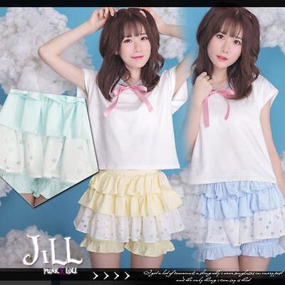 lolita fairy kei princess diary twinkle stars tiered bloomer skorts【JHU0013】