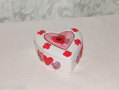 K S Collection Heart Trinket Keepsake Box W Hearts Flowers Porcelain Ebay