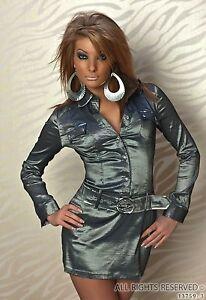 Hemdblusenkleid Minikleid 34 Blusenkleid grau silber 2 ...