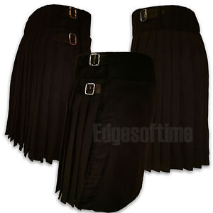 SCOTTISH-BLACK-TARTAN-KILT-SIZES-FROM-26-034-TO-48-034-HIGHLAND-DRESS-3-BELTS-BUCKLES