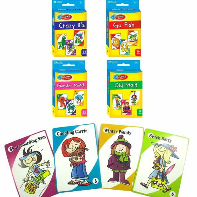4 classic childrens card games crazy 8s go fish monster match old