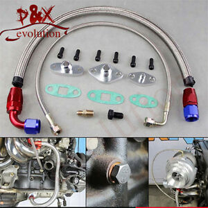 single turbo oil feed line kit flange kit for toyota supra. Black Bedroom Furniture Sets. Home Design Ideas