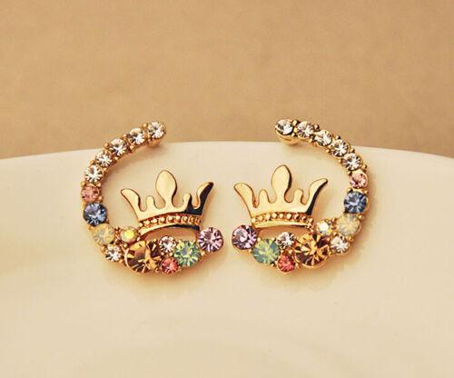 Élégant femme cristal Strass Gold Crown Ear Stud Boucles d/'oreilles Fashion Jewelry