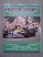 Motor Sport (Aug 1986) Alfa Spider 2.0, Canada, US & France GPs, Peugeot 205 CTI