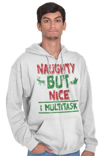 Naughty Nice Multitask Funny Shirt Christmas Santa Claus Edgy Zip Hoodie