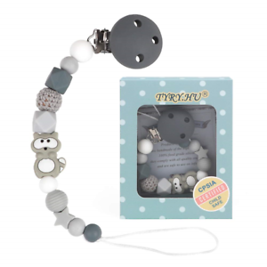 Dummy Clips Boys Baby Soother Chain Pacifier Holder Raccoon Teether Binky Holder
