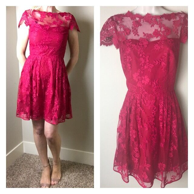 UEC   Cynthia Steffe Ruby rot Fit And Flare Lace Dress Größe 2 -