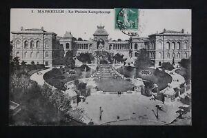 Tarjeta-Postal-Antigua-1912-Marsella-El-Palacio-Longchamp